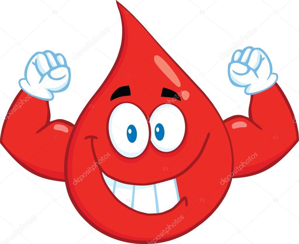 Sonriendo rojos de la sangre caída de dibujos animados mascota ...