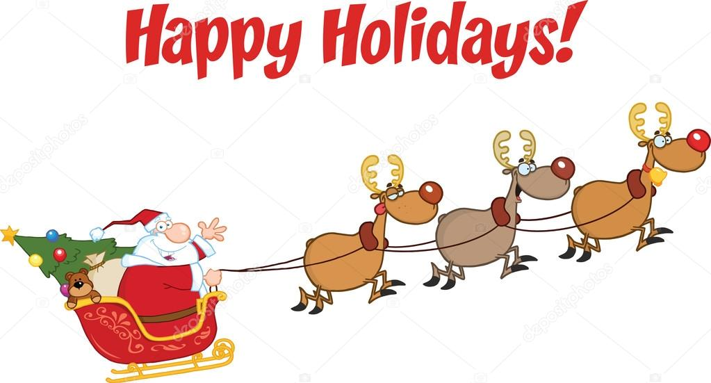 Happy Holidays Greeting With Santa Claus In Flight With His Reindeer And Sleigh