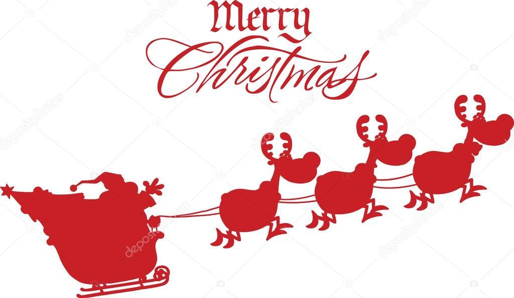 frohe weihnachten gru mit santa claus im flug mit seinem. Black Bedroom Furniture Sets. Home Design Ideas