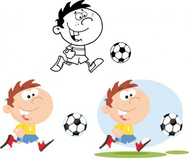 Boy Running With Soccer Ball.