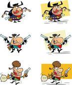 Kovbojové kreslenými postavičkami