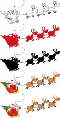 Christmas Santa Clause Sleigh With Reindeer