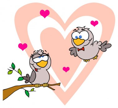 Turtle Doves By A Branch