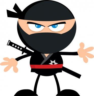Angry Ninja Warrior Cartoon Character.