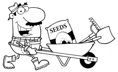 cartoon Gardener with Barrow