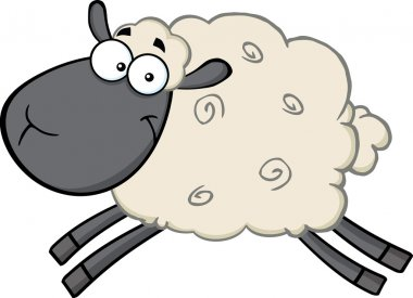 Sheep Cartoon Character Jumping.