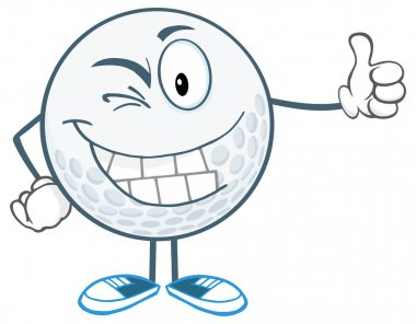 Winking Golf Ball with Thumb Up