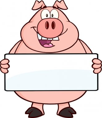 Pig Holding A Banner.