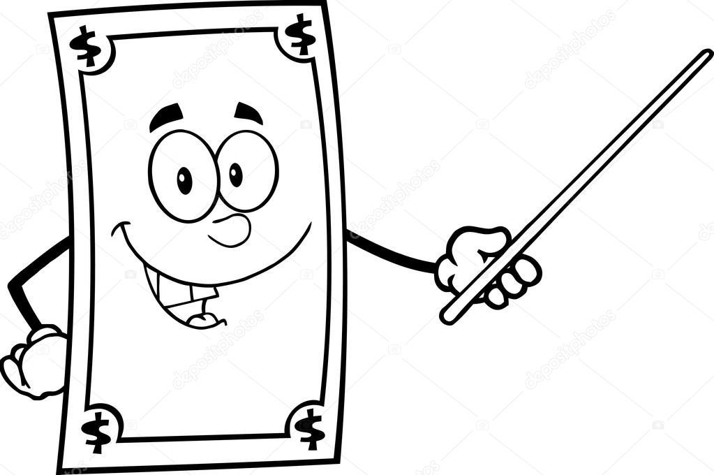 Personaje de dibujos animados de blanco y negro de dólares — Archivo ...