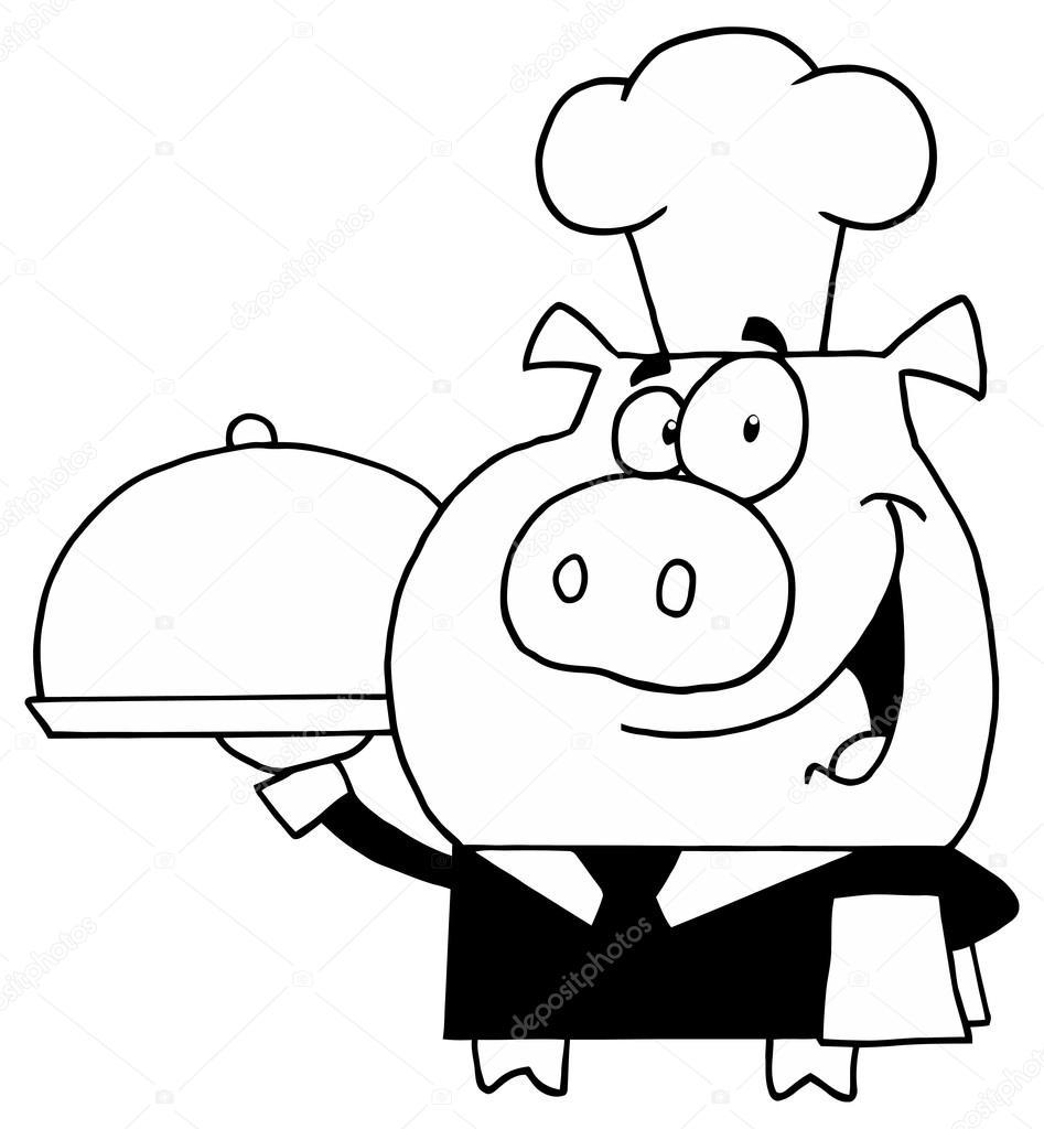 Personaje de cerdo Chef con bandeja — Archivo Imágenes Vectoriales ...