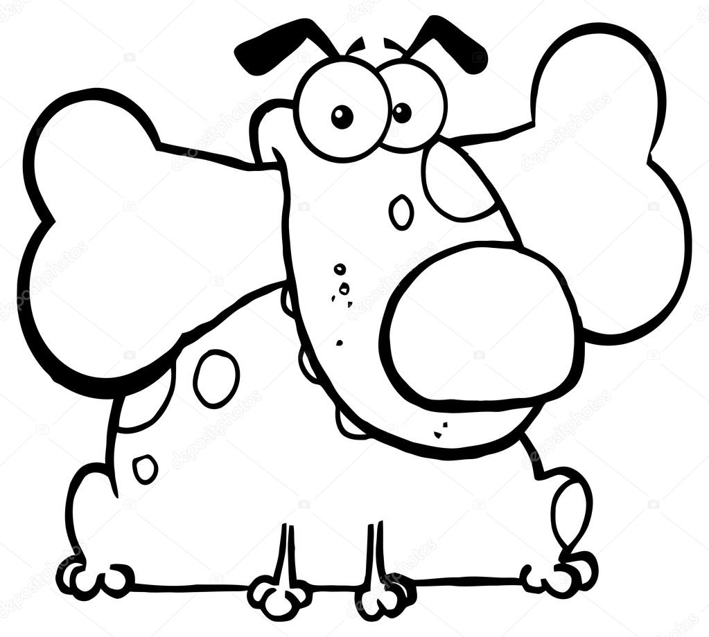 perro de dibujos animados lindo con hueso — Vector de stock ...
