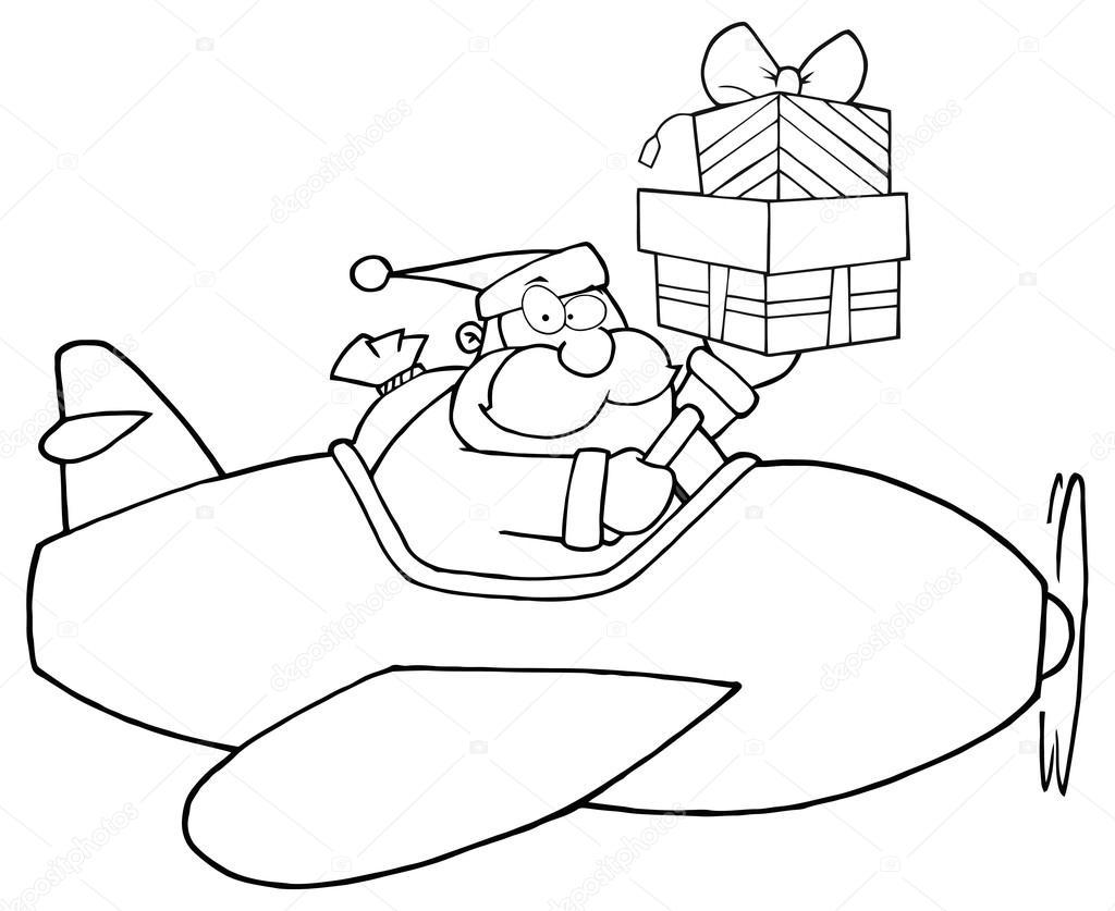 Noel Baba Hediye Ile Uçak Stok Vektör Hittoon 61064495