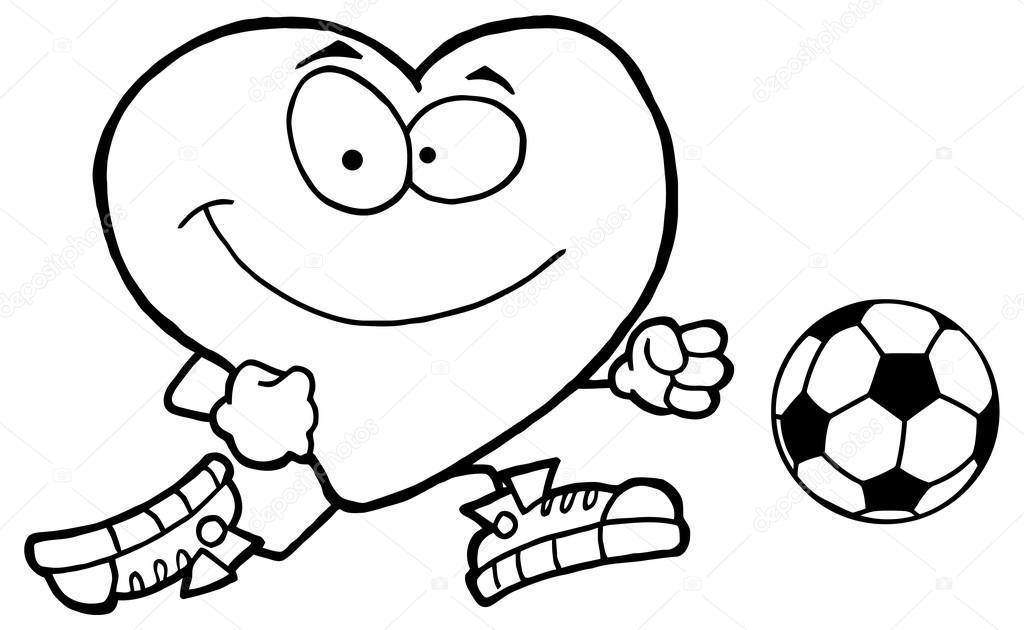 Animado Corazon Para Colorear Carácter De Corazón Saludable