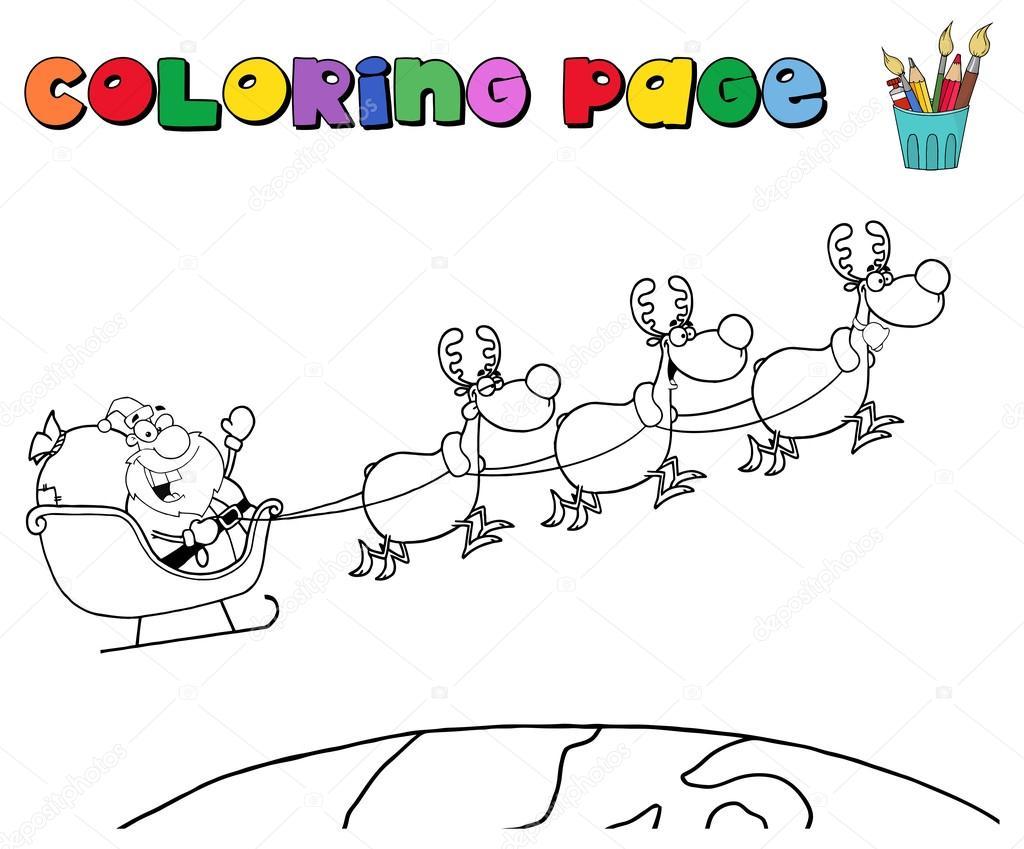 Santa Claus en trineo de renos — Archivo Imágenes Vectoriales ...