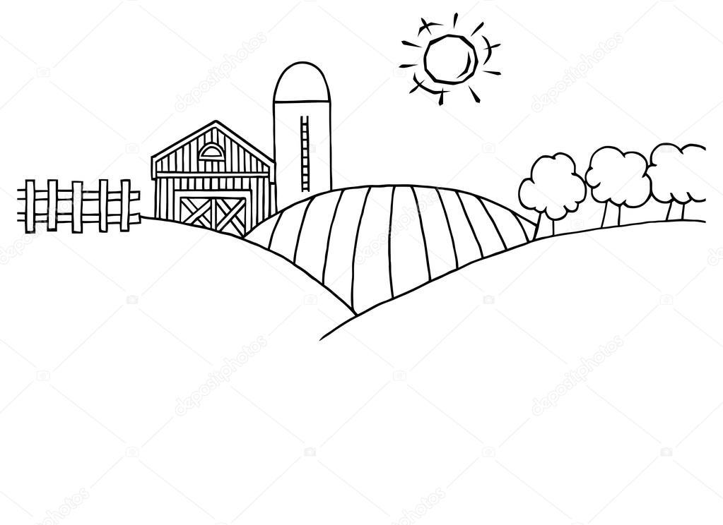Rolling Hills, una granja — Vector de stock © HitToon #61064943