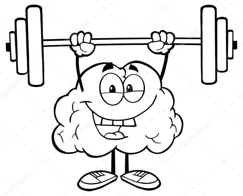 brain character lifting weights  u2014 stock vector  u00a9 hittoon  61065527