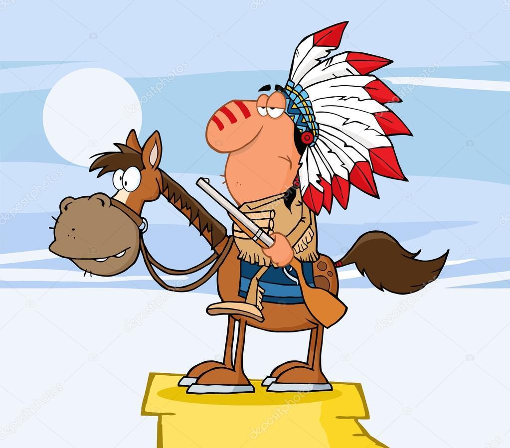 Любимая, смешная картинка с индейцем