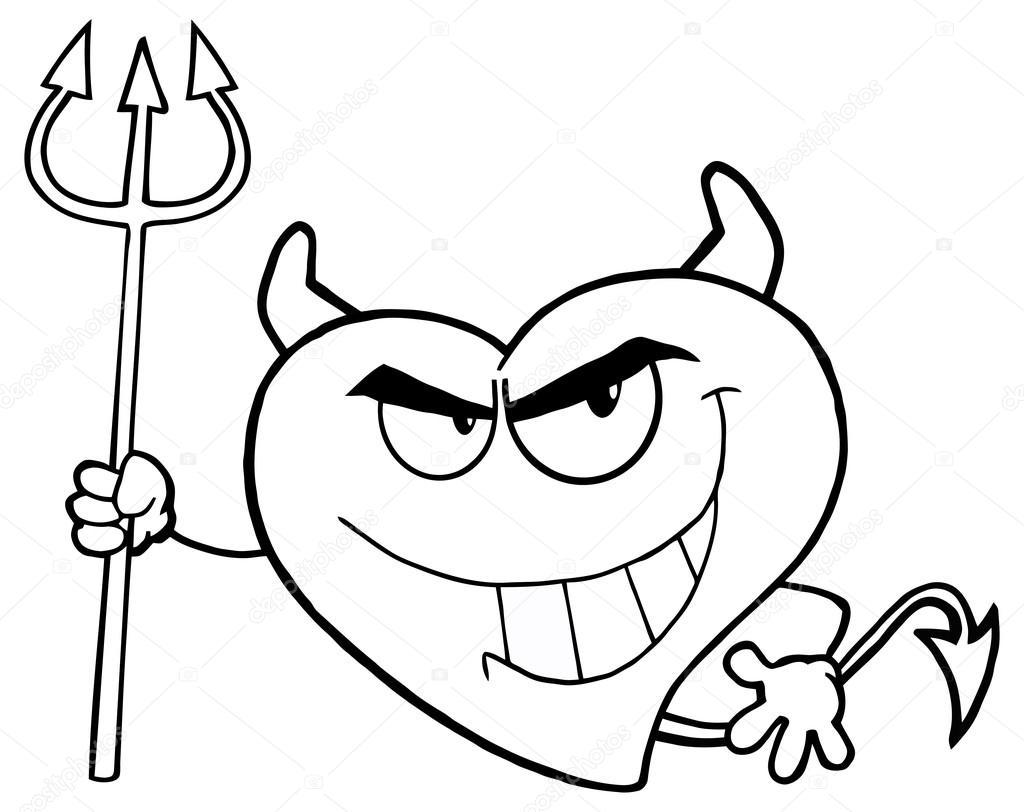 dibujos animados de corazón malvado — Archivo Imágenes Vectoriales ...