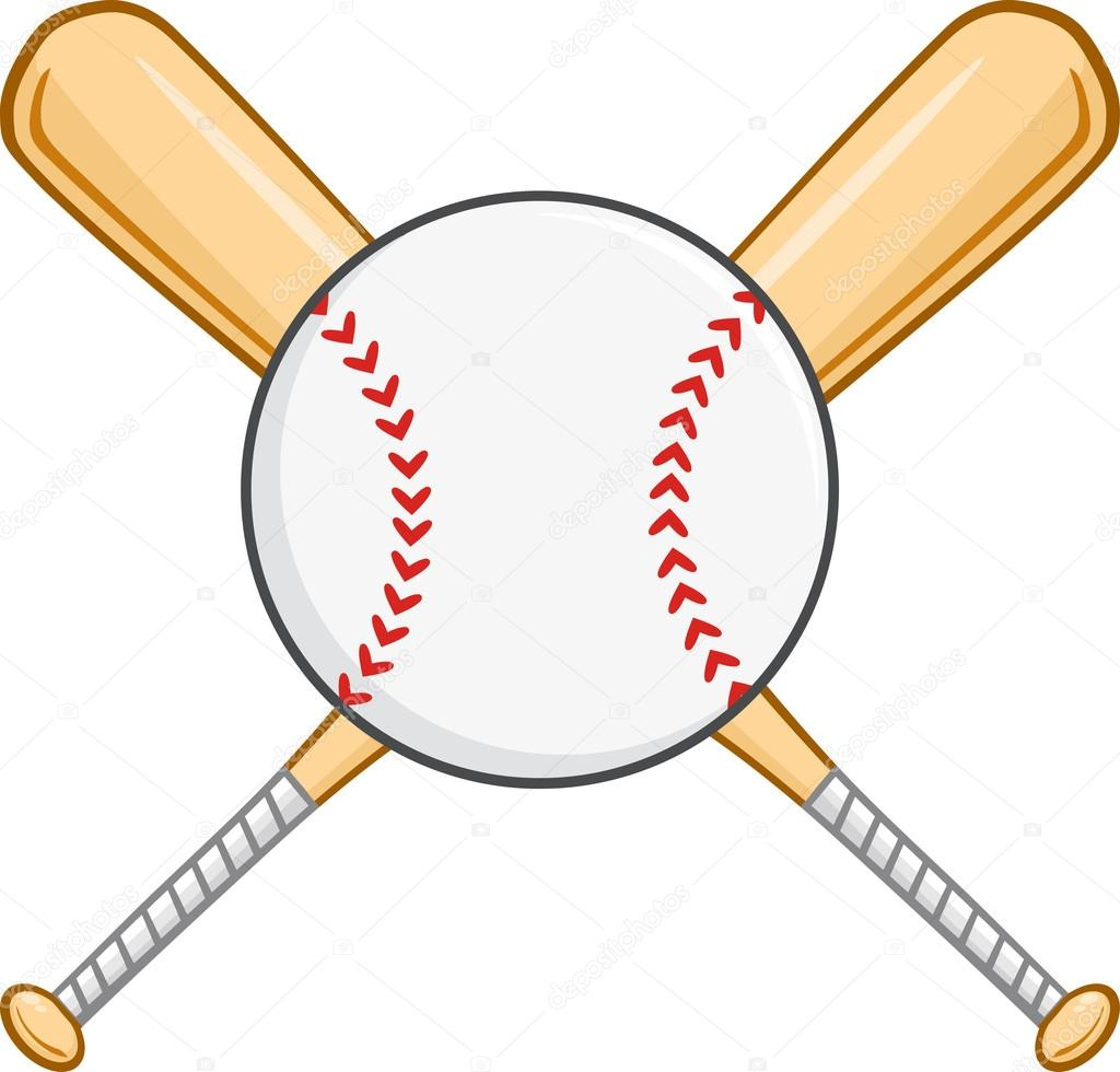 Crossed Baseball Bats And Ball. — Stock Vector © HitToon #61066745