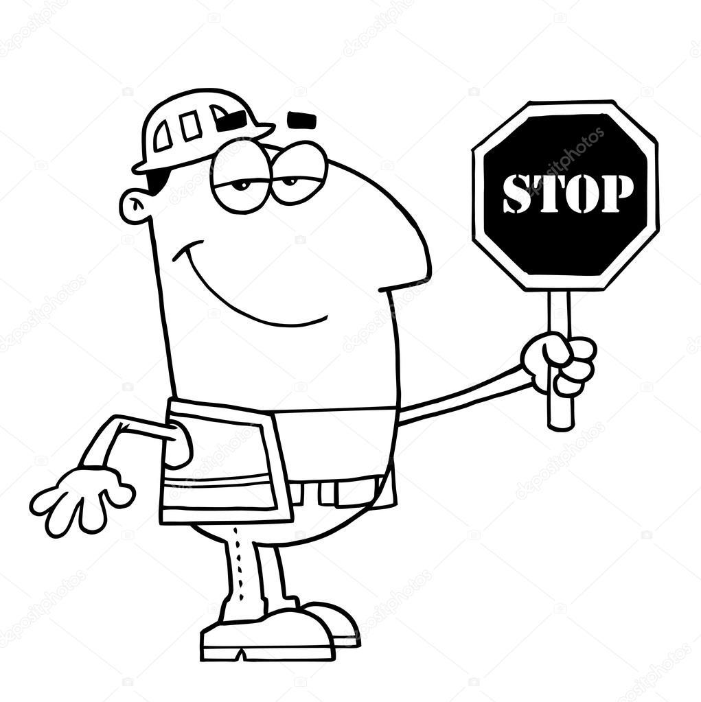 Generador de dibujos animados con señal de Stop — Archivo Imágenes ...