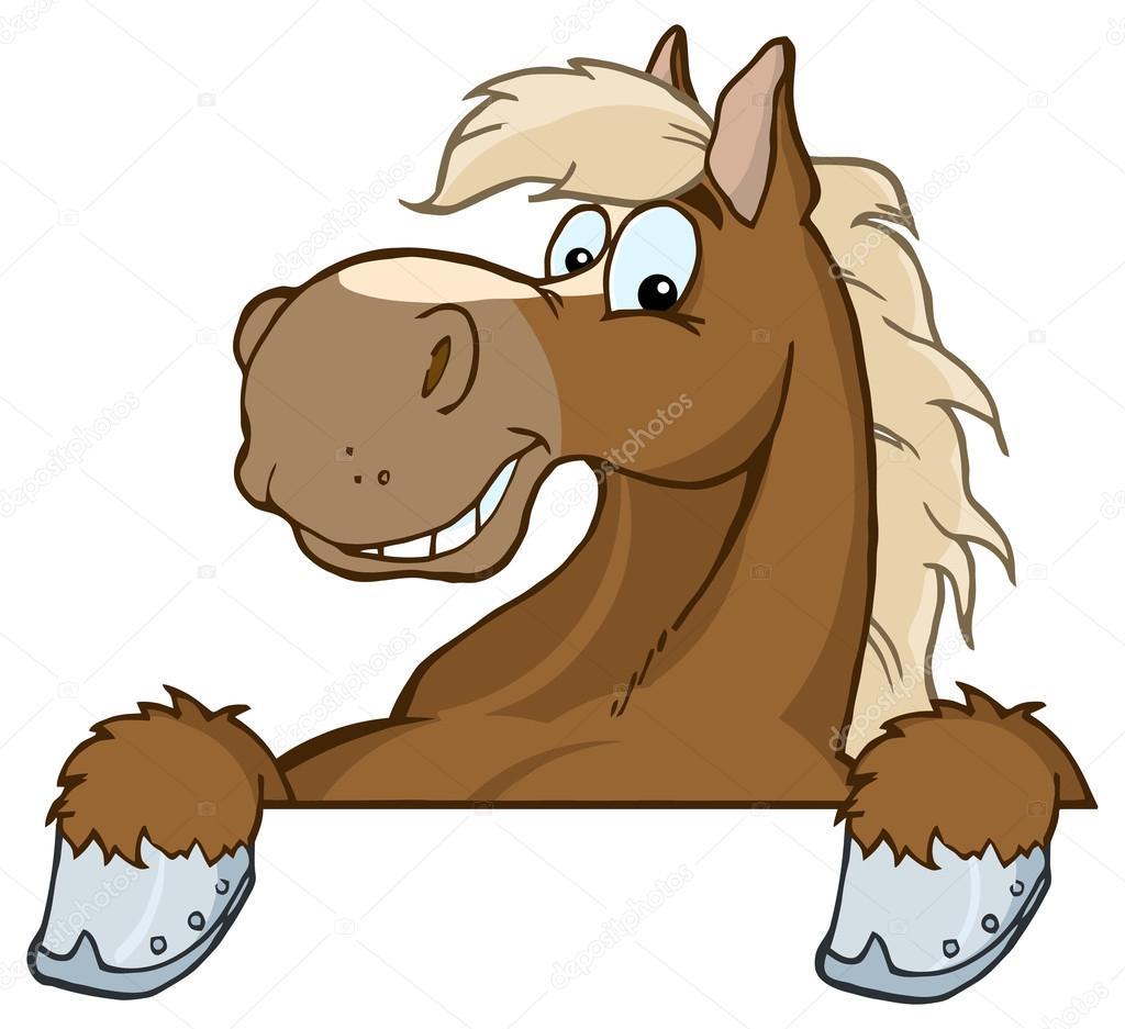 Testa di cavallo mascotte dei cartoni animati — vettoriali