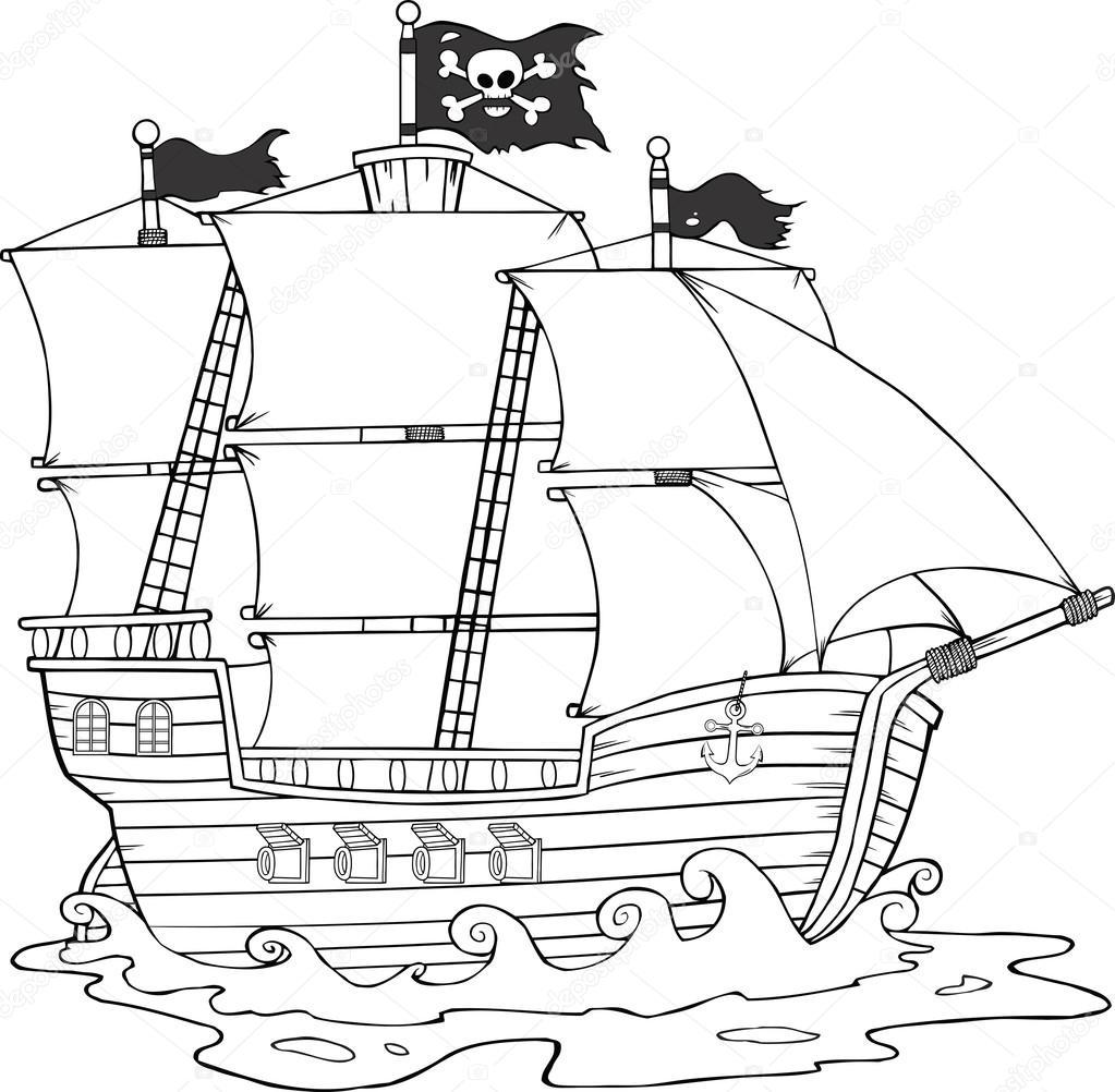Siyah Ve Beyaz Korsan Gemisi Stok Vektör Hittoon 61067631