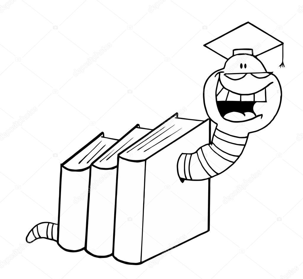 çizgi Film Solucan Kitaplar Stok Vektör Hittoon 61068233