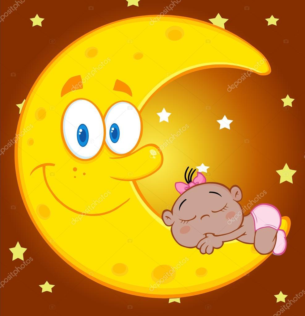 Neonata africana che dorme sulla luna u2014 vettoriali stock © hittoon