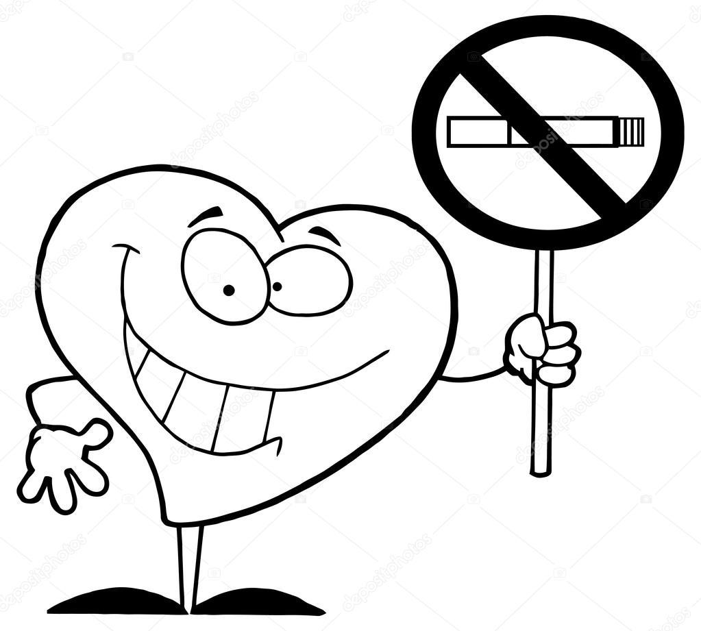 Corazón con el cartel de No fumar — Archivo Imágenes Vectoriales ...