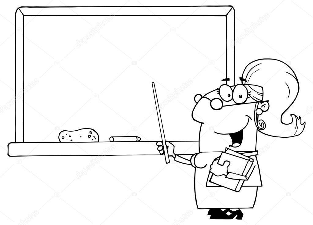 Profesores animados para colorear   Profesor con el puntero sobre el ...