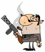 kreslená postava gangstera