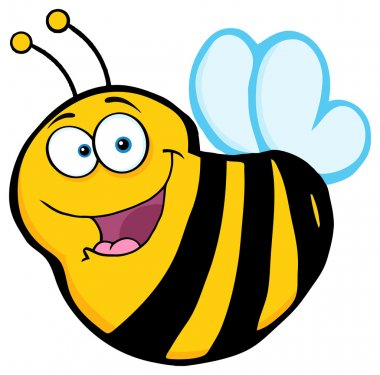 Happy Bee Cartoon Character