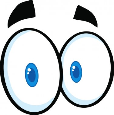 Cute Cartoon Eyes. Vector Illustration Isolated on white stock vector
