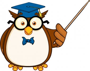 Wise Owl Teacher With A Pointer.