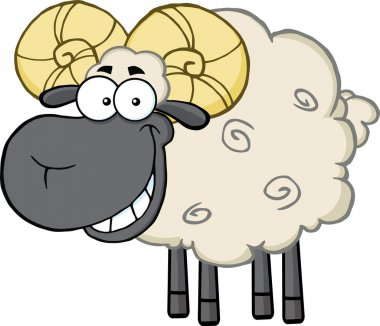 Ram Sheep Cartoon Character.