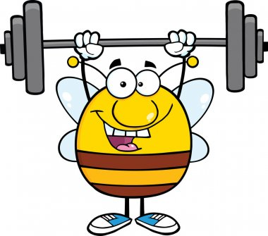 Happy Bee Lifting Weights