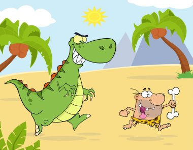 Angry Green Dinosaur Chasing A Caveman.