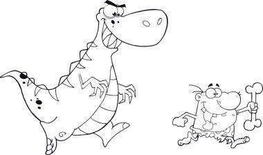 Angry Dinosaur Chasing A Caveman.