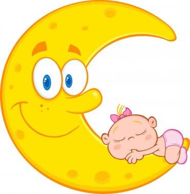 Baby Girl Sleeps On  Moon