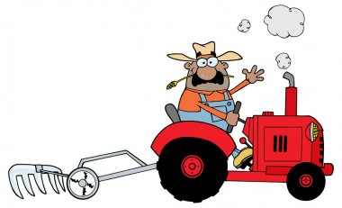 Farmer Driving A Red Tractor