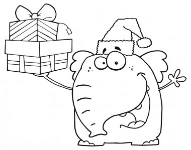 Happy Elephant Holds Up Gifts