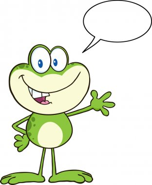 Frog Greeting With Speech Bubble.