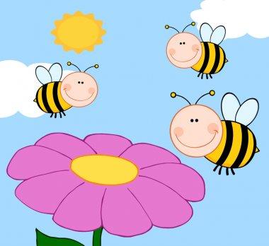 Bees Flying Over Flower