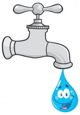 Water Faucet With Smiling Water Drop Cartoon Character.