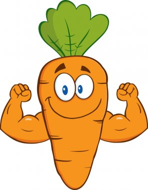 Carrot  Showing Muscle Arms.