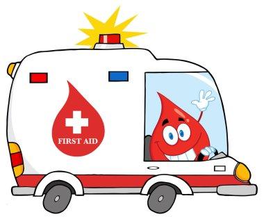 Blood Drop Driving Ambulance Car