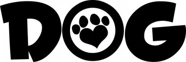 Dog Black Text With Paw Print