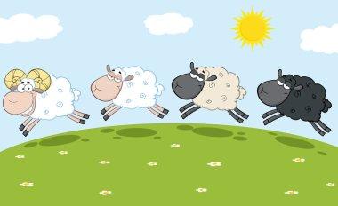 Ram  Leading Three Sheep.