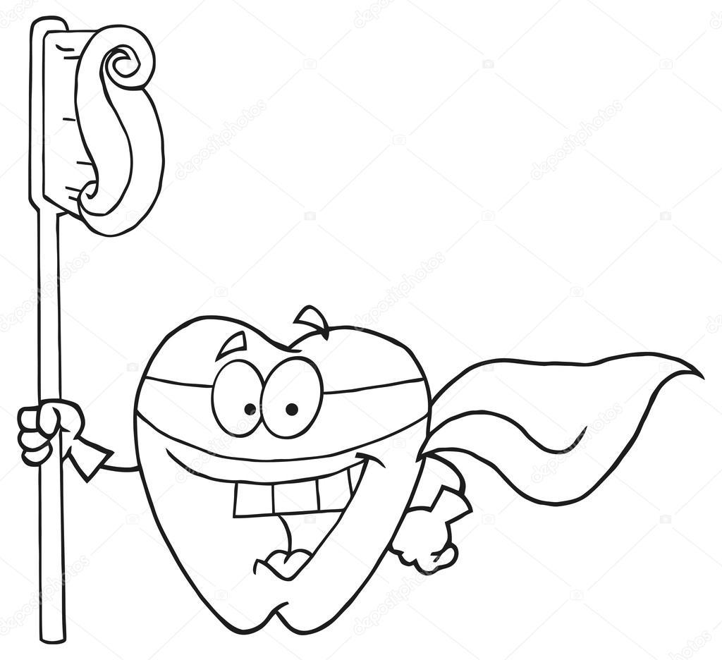 super héroe de Cartoon diente — Vector de stock © HitToon #61070615