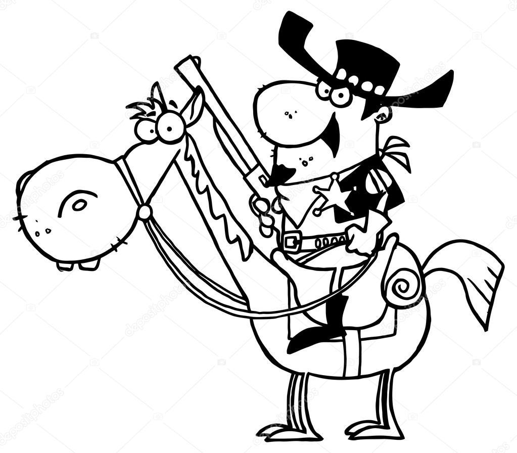 sheriff de dibujos animados con pistola — Vector de stock © HitToon ...